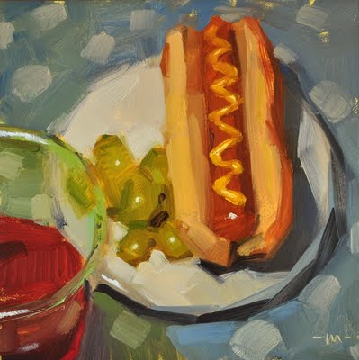 """Punch, Grapes, Dog"" original fine art by Carol Marine"