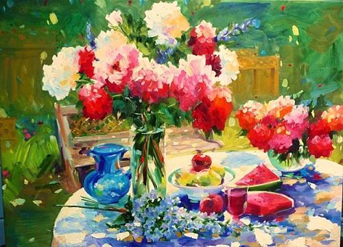 """Viridian Summer"" original fine art by Cecilia Rosslee"