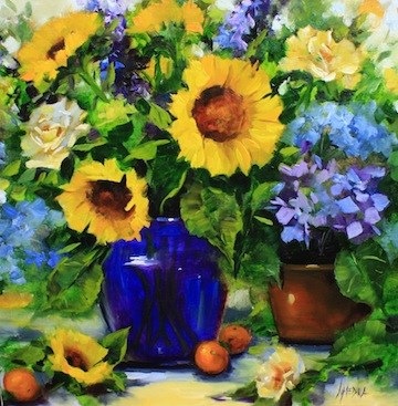 """A Day in Provence Sunflower Workshop by Flower Artist Nancy Medina"" original fine art by Nancy Medina"