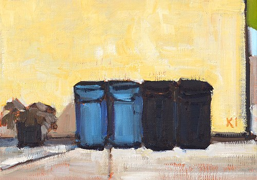 """Trash Cans, Mission Hills"" original fine art by Kevin Inman"