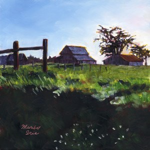 """Barns at sunset"" original fine art by Mariko Irie"
