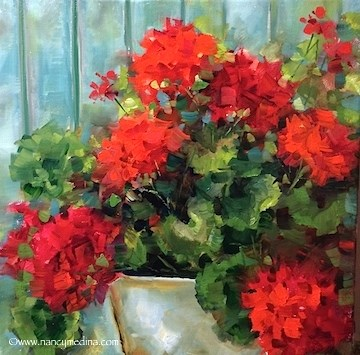 """Announcing a New E-Course - Painting Brilliant Colors - Garden Covenant Red Geraniums - Flower Paintings by Nancy Medina"" original fine art by Nancy Medina"