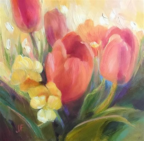 """Tulips and Pansies"" original fine art by Jean Fitzgerald"
