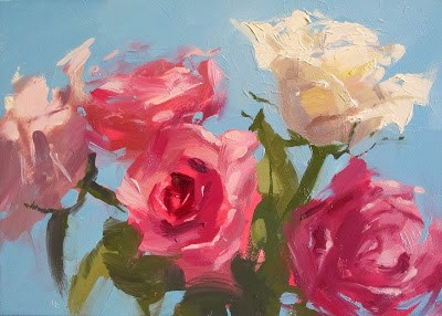 """ROSE ROSE BLUE"" original fine art by Helen Cooper"