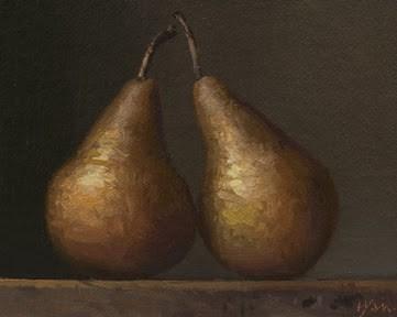 """Two Bosc Pears (Lambda)"" original fine art by Abbey Ryan"
