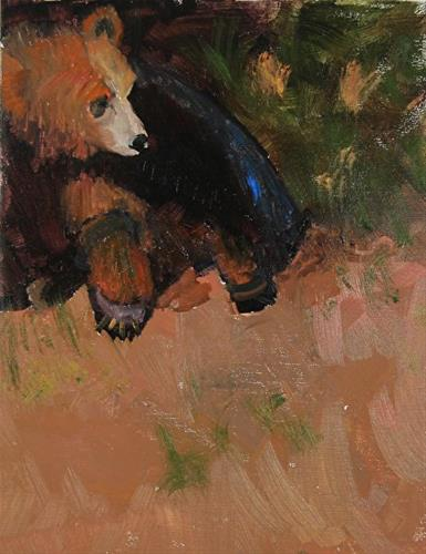 """Grizzly Sunning Himself Original Grizzly Bear Oil Painting by Colorado Artist Susan Fowler"" original fine art by Susan Fowler"