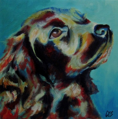 """Custom Abstract Pet Portrait"" original fine art by ~ces~ Christine E. S. Code"