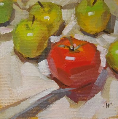 """Apples Compliment"" original fine art by Carol Marine"