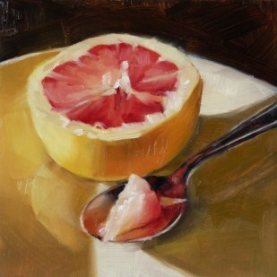 """Oil Painting of a Grapefruit: the Other Half"" original fine art by Deb Anderson"