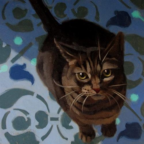 """Hungry Layla kitty wants noms feed now"" original fine art by Diane Hoeptner"