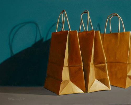 """Three Paper Bags"" original fine art by Nance Danforth"