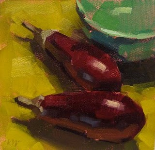 """eggplant demo and kids again"" original fine art by Carol Marine"