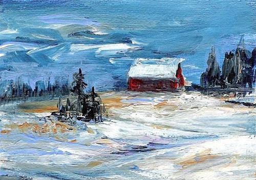"""3063 - WINTER BARN - ACEO Series"" original fine art by Sea Dean"