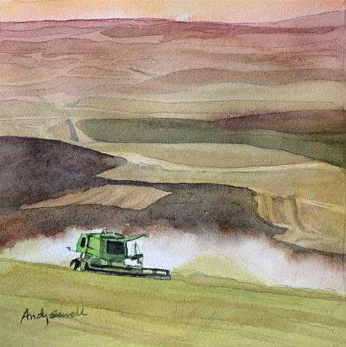 """Cuttin' Wheat - 6x6 watercolor by Andy Sewell"" original fine art by Andy Sewell"