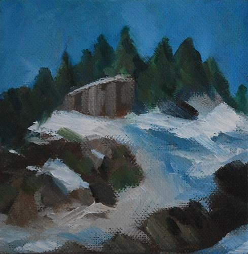 """Snowy Peak"" original fine art by J M Needham"