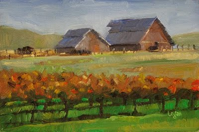 """Barns out on Orcutt Road #1"" original fine art by Raymond Logan"
