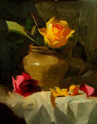 """Roses to Elaine --- Sold"" original fine art by Qiang Huang"