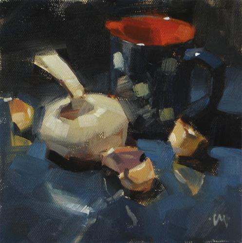 """Garlic Juice & Anticipation"" original fine art by Carol Marine"