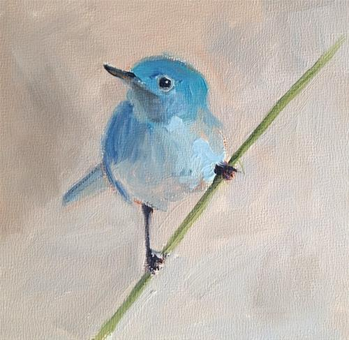 """Tiny Blue Bird"" original fine art by Deborah Newman"