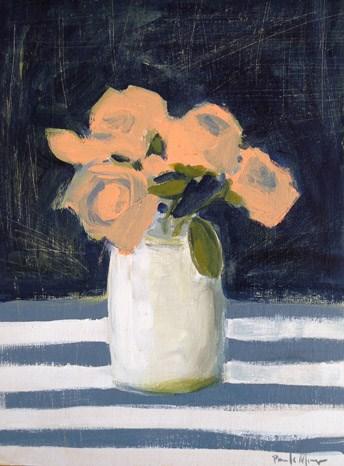 """Peach with Grey Stripes"" original fine art by Pamela Munger"