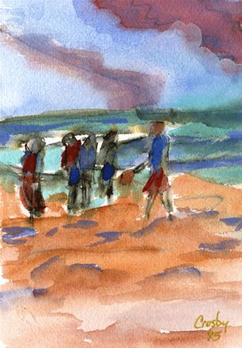 """Beach Sport"" original fine art by Donna Crosby"