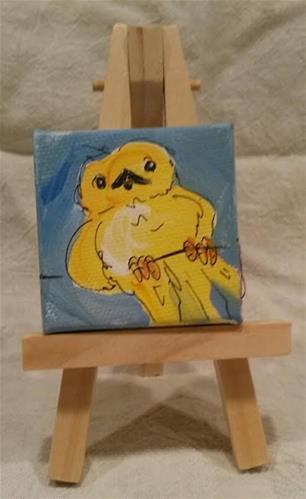 """Itty Bitty Yellowbird"" original fine art by Terri Einer"
