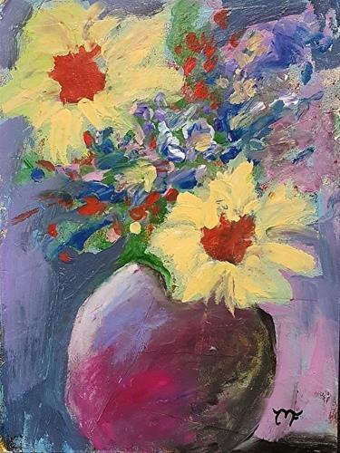"""""""Yellow Flowers in Vase"""" original fine art by Mechele Flowers"""