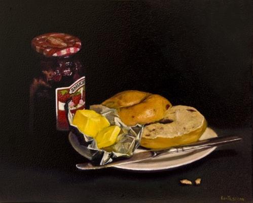 """Bagel, Butter and Jam"" original fine art by Kim Testone"