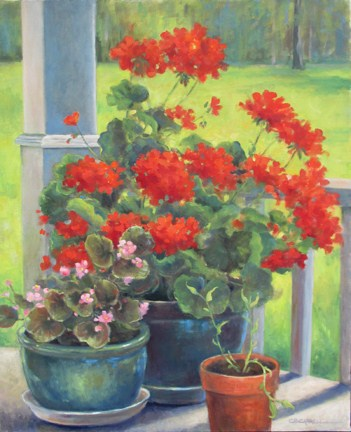 """""""SIDE PORCH FLOWERS  An Original Oil Painting by Claire Beadon Carnell"""" original fine art by Claire Beadon Carnell"""