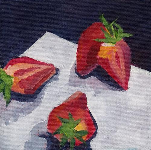 """Strawberries"" original fine art by J M Needham"