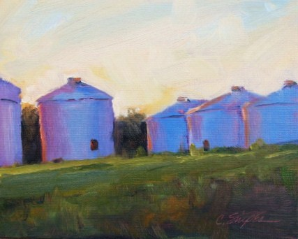 """Silos at Dusk"" original fine art by Connie Snipes"