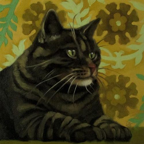 """Green Eyes striped cat on yellow floral background"" original fine art by Diane Hoeptner"