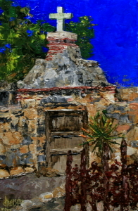 """Arizona Mission Chapel"" original fine art by Jean Nelson"