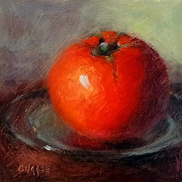 """Tomato on Plate"" original fine art by Cindy Haase"