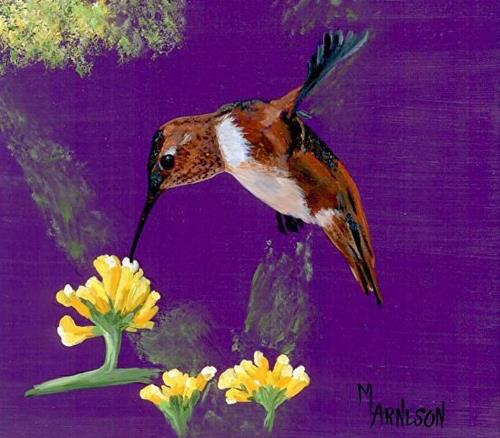 """Wildlife, Bird Art Painting Nectar for a Rufus  by Mary Arneson Art-Works of Whimsy"" original fine art by Mary Arneson"