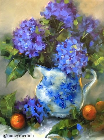 """Winter Blues Hydrangeas - Flower Paintings by Nancy Medina Art"" original fine art by Nancy Medina"