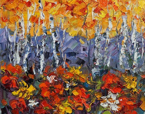 """Palette Knife Aspen Tree Colorado Landscape Painting Theater of the Forest by Colorado Impressioni"" original fine art by Judith Babcock"