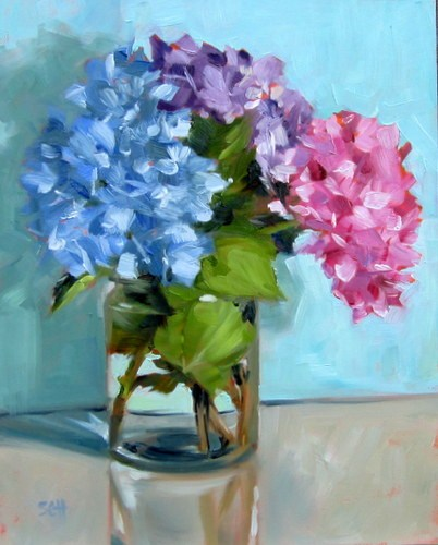 """Hydrangeas today"" original fine art by Sandy Haynes"