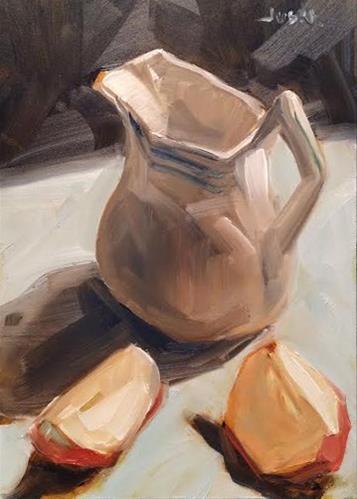 """Apple Slices"" original fine art by Elaine Juska Joseph"