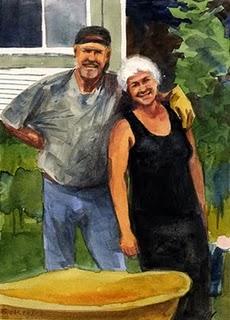 """Watercolor: Hopeful Garden (& a painting by Jelaine Faunce)"" original fine art by Belinda Del Pesco"