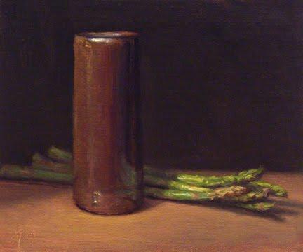 """Asparagus with Handmade Vase"" original fine art by Abbey Ryan"