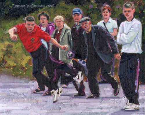 """Irish Bowling Roadshow"" original fine art by Donald Curran"