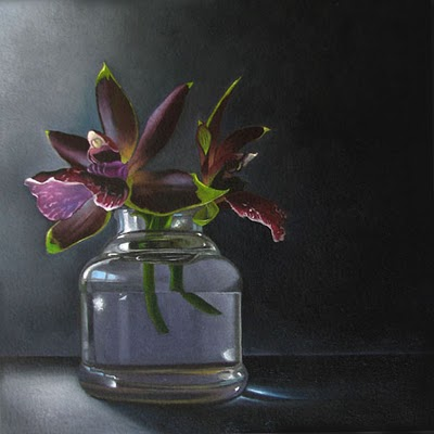"""Well of Orchids   6x6"" original fine art by M Collier"