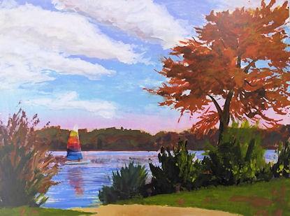 """Fall Sail acrylic sketch on board"" original fine art by Jamie Williams Grossman"