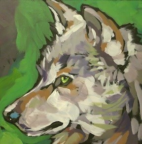 """Alert Green Eyes"" original fine art by Kat Corrigan"