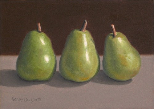 """Three Green Pears"" original fine art by Nance Danforth"