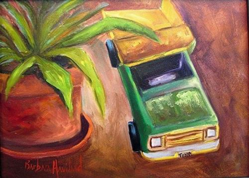 """Tonka Truck and Pot Plant by Barbara Haviland Texas Landscape Artist"" original fine art by Barbara Haviland"