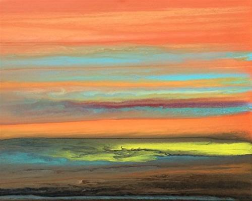 """Abstract Landscape Painting,Sunset Blazing Sky Reflected X by Colorado Contemporary Artist Kimberl"" original fine art by Kimberly Conrad"