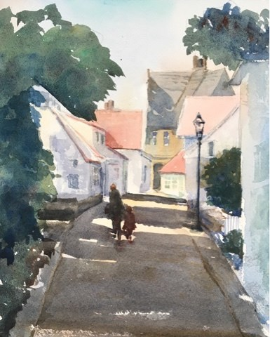 """Old Town, Stavenger, Norway"" original fine art by Katharine Engh"