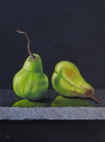 """Two green Pears"" original fine art by Pera Schillings"